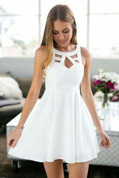 e1e3a06dc986b Short White Dresses, White Semi Formal Dress, Cute Short Prom Dresses,  Spring Formal