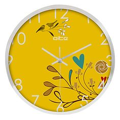 Country Floral Stainless Steel Wall Clock – USD $ 49.99
