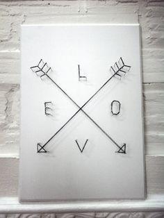 Love Arrows Poster 3D String artwork. Dorm decor. Original artwork. Handmade. Inked with string art. Size A4