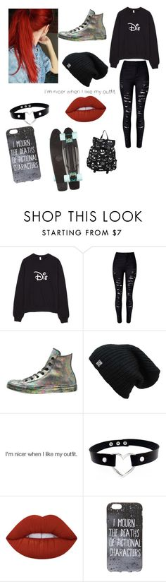 """Echo (School Outfit)"" by echolikescandyalot ❤ liked on Polyvore featuring WithChic, Converse, Lime Crime and Victoria's Secret"