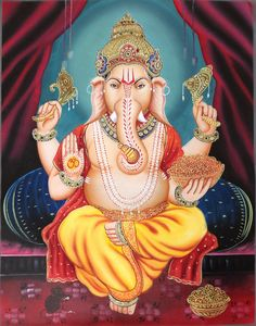 Mughal Paintings, Persian Miniatures, Rajasthani art and other fine Indian paintings for sale at the best value and selection. Shri Ganesh, Ganesha Art, Lord Ganesha, Hanuman, Mughal Paintings, Indian Paintings, Indian Gods, Indian Art, Oil Painting On Canvas