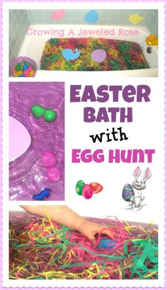 Bath time Easter Egg Hunt- SO MUCH FUN!  Lots of other simple but fun elements to this Easter bath too!