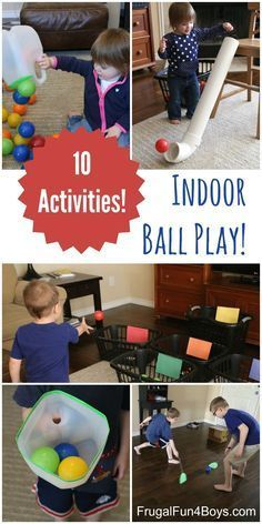 10 Ball Games for Kids - Ideas for Active Play Indoors!  Great activities with ball pit balls, and I love how the games use materials from around the house.