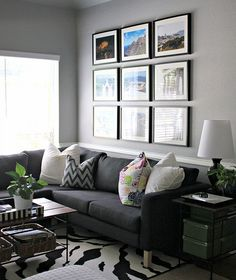 Fill new gray Ribba frames from Ikea to make grid above dresser in bedroom