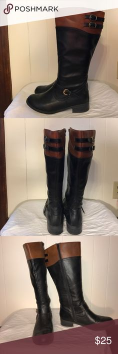 Black and brown boots Like new, only worn a few times. In excellent condition!!! solanz Shoes Combat & Moto Boots