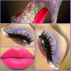 Pink and blue eye shadow enhanced with sparkling gems and a pretty pink lip by 'Makeup by Cari'.