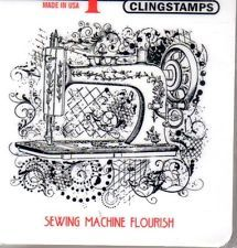 New CLING Deep Red Rubber Stamp vintage Sewing machine flourish Free usa ship