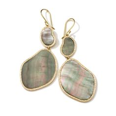 Shell and diamond earrings from the Polished Rock Candy collection by Ippolita