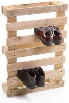 Pallet shoe storage - for my overabundance of running shoes! Would be great mounted on the wall and painted...