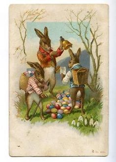176203 EASTER Dressed RABBIT Bunny SNOWDROPS Vintage PC