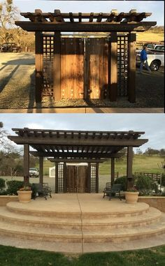 can you imagine this covered in flowers? so beautiful , perfect rustic backdrop to get married in front of. Gazebo, Pergola, Rustic Backdrop, Wedding Decorations, Wedding Ideas, California Wedding Venues, Vineyard Wedding, Friend Wedding, Rustic Chic