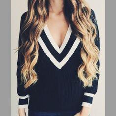Varsity Boyfriend Sweater Navy deep V varsity sweater. 100% acrylic. Brand new. No trades. Boutique Sweaters V-Necks