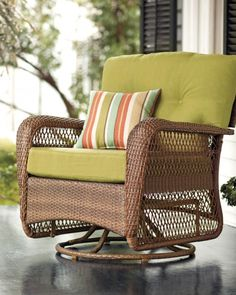 This swivel rocker is great for more than just the patio; it can also find its home on your porch or sunroom. Made of a sturdy frame and all-weather wicker, it's certain to withstand the elements. Purchase this chair from the Charlottetown collectionhere.