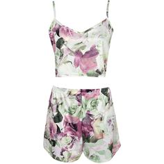 Boohoo Fifi Floral Crop Cami And High Waist Short Set ($20) ❤ liked on Polyvore featuring intimates, sleepwear, pajamas, short pajamas, cropped cami, floral camisole, short camisole y cropped camisole