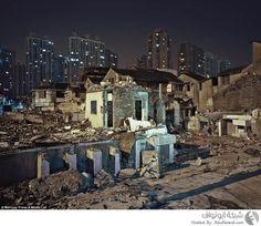 المنازل المدمرة في مدينة شنغاهاي الصينية