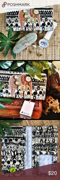 Sakroots slim line elephant wallet Don't let this wallet's slim appearance fool you! This compact style has ample space to fit all of your credit cards, ID's and everything else you need for the day. Crafted with four large pockets and a fun embroidered elephant design; ideal for your collection. Snap closure Exterior: 1 back wall zip pocket Interior: 11 card slots, 1 ID window, 4 lge slit pockets. Man made materials 🐘 Add this to my bundle and make me an offer💋 Sakroots Bags Wallets