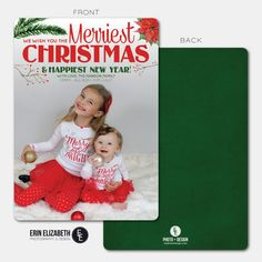 These little girls are too cute!! What a great Christmas Card design!  Love the rustic floral look! Check out more custom Holiday Card design from EE Photo and Design on Etsy!