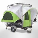 It's a tiny little pop-up camper! I don't camp but I still think it's cute. $7495. buys a lot of quality time in a nice hotel.