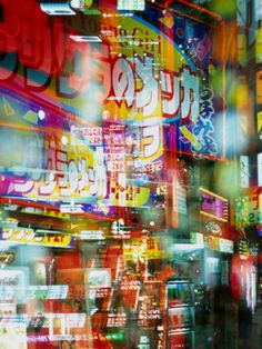 Neon Lights and Reflections in Shinjuku, Tokyo, Japan.   Click to buy this City Art Print!