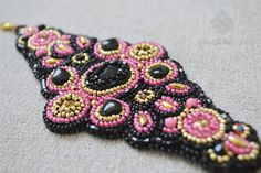 Bead embroidery cuff Black, pink, gold bracelet