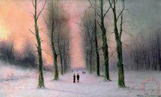 Snow Scene Wanstead Park Painting by Nils Hans Christiansen