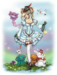 Finished my new Alice In Wonderland! Lolita Alice in Wonderland Disney Tatoo, Art Disney, Disney Love, Art Harry Potter, Alice In Wonderland Drawings, Wonderland Alice, Wonderland Tattoo, Drawn Art, Alice Madness