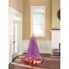 Indiana Spruce 4 Ft Purple Pre-lit Tree with Clear Lights by Holiday Time. $39.99. Prelit lights - bulbs stay lit even if one bulb burns out. Stands 4 foot tall (Stand Included). 173 branches. 150 pre-strung lights. Indiana Spruce 4 Ft Purple Pre-lit Tree with Clear Lights