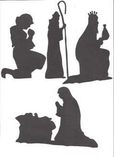 Pearlescent black large Nativity silhouettes set of seven Outdoor Nativity Scene, Diy Nativity, Nativity Scenes, Christmas Nativity, Christmas Stencils, Christmas Banners, Christmas Projects, Holiday Crafts, Christmas Rock