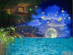 Moon On The Water, Night Gif, Gif Photo, Sun And Stars, Fairy Land, Art Boards, Wonderland, Animation, Artist