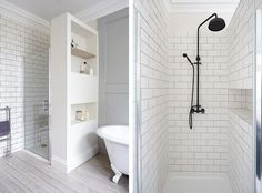 New Wall White Tile Shower Heads Ideas White Tile Shower, Black Shower, White Tiles, Shower Tub, Shower Heads, Shower Drain, Upstairs Bathrooms, Laundry In Bathroom, Small Bathroom