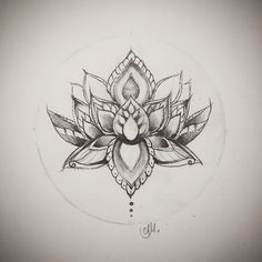 lotus flower drawing. This would be a super cute tattoo