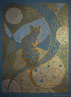 """Лунный кот"""" / """"Lunar cat"""". Materials blue cardboard, ink gold, white, black acrylic gold Материалы: голубой картон, тушь золотая, чёрная, белая, золотой акрил Size 21x30cm / Размер 21х30см"""