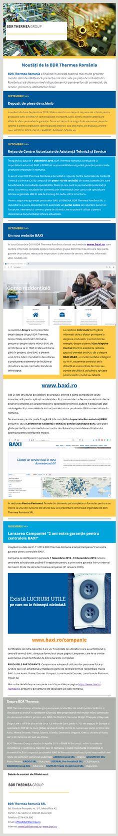 """BDR Thermea Romania a finalizat în această toamnă mai multe proiecte menite să îmbunătățească prezența mărcilor sale pe piața de instalații din România și să ofere un nivel ridicat de servicii partenerilor săi comerciali, de service, precum și utilizatorilor finali: ➡️Depozit de piese de schimb ➡️Rețea de Centre Autorizate de Asistență Tehnică și Service ➡️Un nou website BAXI ➡️Lansarea Campaniei """"2 ani extra garanție pentru centralele BAXI"""" Romania, Web Design, Branding, Construction, Building, Design Web, Brand Management, Identity Branding, Website Designs"""