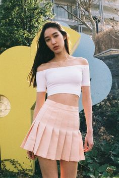 Off-Shoulder Top + Tennis Skirt. #AmericanApparel I want the skirttttt - Find Hundreds of Top Online Womens Wear Stores via http://AmericasMall.com/categories/womens-wear.html