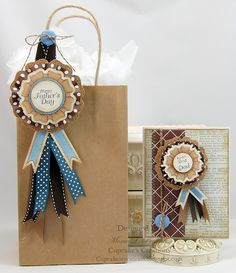 Gift Bag and Father's Day Card designed by Mona Pendleton using JustRite -You are the Best Stamps.