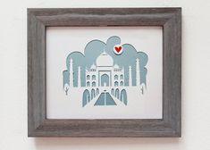 Taj Mahal Indien. Personalisiertes Geschenk oder von Cropacature