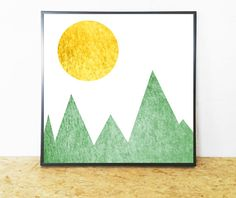 Mountain Print, Mountain Printable, Mountain, Green and Gold, Abstract Landscape, Green and Gold Print, Abstract Print, Landscape Printable