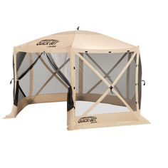 Clam Quick Set Escape Portable Camping Outdoor Gazebo Canopy Shelter Screen, Tan