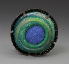 Annie Pennington  'Diatom Series: Chaetoceros.' Brooch. Copper, Steel, Clay, Wool, Colored Pencil. 1in.