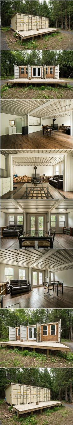 Container House - Cabin Built Out Of 3 Shipping Containers. This is so beautiful! ~ Great pin! For Oahu architectural design visit ownerbuiltdesign.com - Who Else Wants Simple Step-By-Step Plans To Design And Build A Container Home From Scratch?