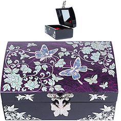 """Jewelry box in mother of pearl * Gift Box, Lacquer ware Wood , MOP( Mother of Pearl ) * Handmade Butterfly pattern * 5"""" x 3.5""""x 2.2"""" (13cm x8.5cm x 5.5cm) * (Placed within the Amazon Associates program) * 00:13 Mar 11 2017"""