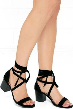 From the time you slip on the This Moment Black Suede Lace-Up Heels, your entire outfit will transform into something magical! These on-trend vegan suede sandals have a single toe strap, and sturdy heel cup fashioned with long, tying straps.