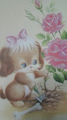 Retro, Decoupage, Teddy Bear, Painting, Animals, Collection, Old Letters, Painting On Fabric, Diy Dog