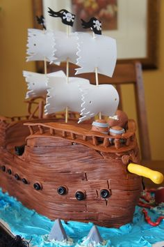 Huge Pirate Cake this would be a great  cake for my brothers 40th ..... he had a pirate ship as a kid that he loved