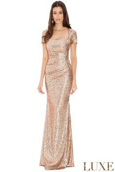 Sequin-Portrait-Neckline-Maxi-Dress-Champagne-Front-DR335