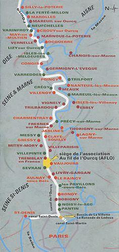 Promenade à vélo le long du canal de l'Ourcq  Carte schématique du canal de l'Ourcq    Prenez la direction du Bassin de La Villette, en passant de préférence le long du canal Saint-Martin si vous venez de Bastille.