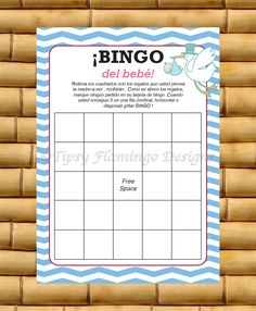 UNIQUE - Spanish Baby Shower Game - Spanish Bingo, Espanol Baby Shower Game, Bingo del Bebe - Blue and White - Instant Download - TFD257 by TipsyFlamingoDesigns on Etsy