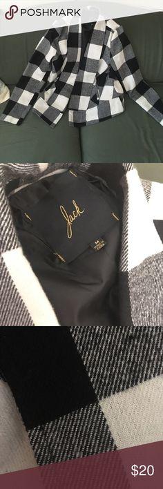 Plaid Coat Black, white, gray plaid coat. Has pockets it comfortable and warm. Modcloth Jackets & Coats