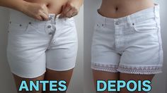 COMO AUMENTAR MEDIDA DE SHORTS APERTADO - SUELLEN REDESIGN The Office Shirts, Denim Ideas, Old Jeans, Clothing Hacks, Sewing For Beginners, Sewing Clothes, Denim Fashion, Refashion, Dressmaking