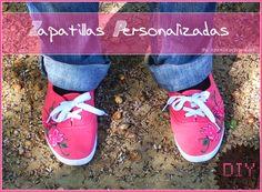 Tutorial para pintar unas zapatillas de lona como éstas. DIY flower shoes ;)
